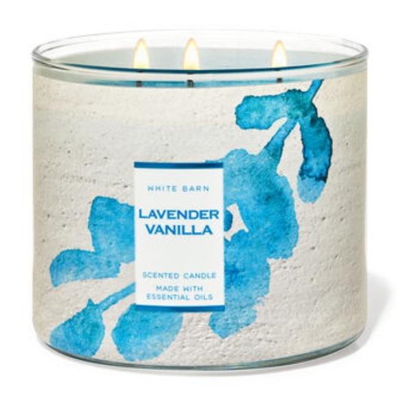 Lavender Vanilla 3 Wick Bath & Body Works Candle